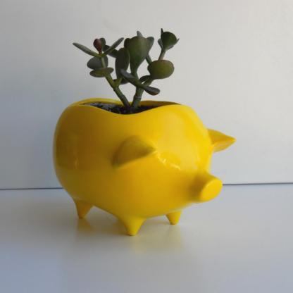 lemon yellow pig planter 2