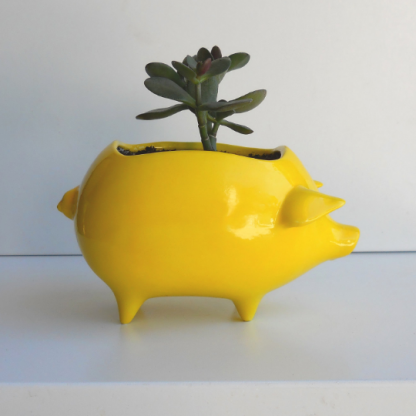lemon yellow pig planter 3