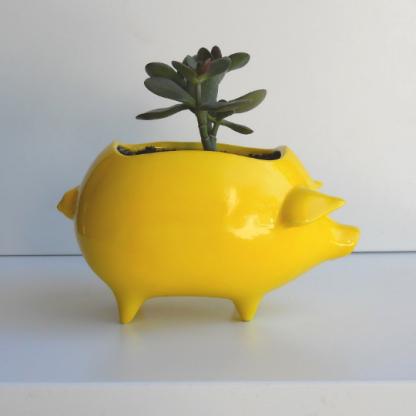 lemon yellow pig planter 3