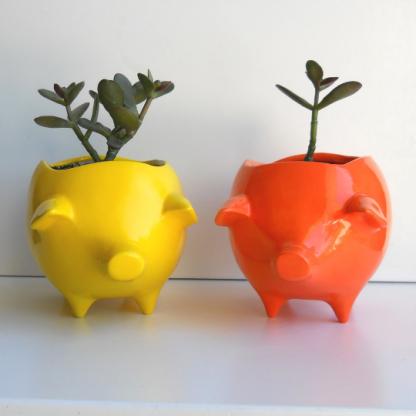 lemon yellow and orange pig planter